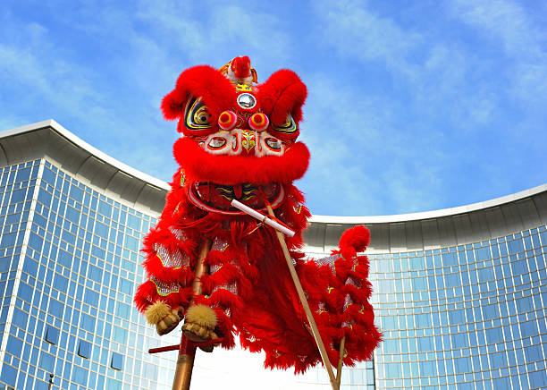 Chinese lion costume (for Spring Festival celebration) stock photo