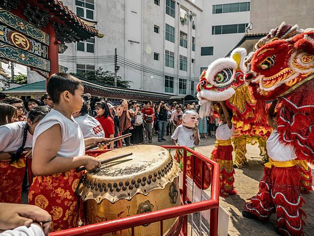 Chinese lion dance New Year Chinatown Bangkok Thailand stock photo