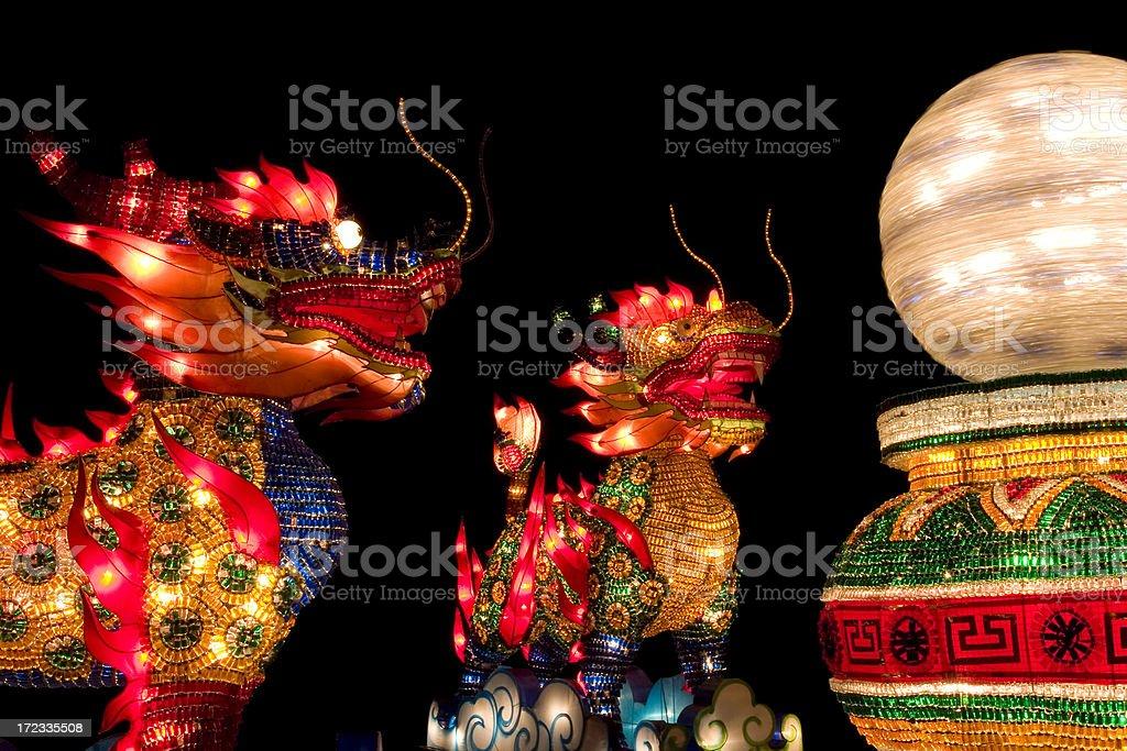 Chinese Lion Lanterns royalty-free stock photo