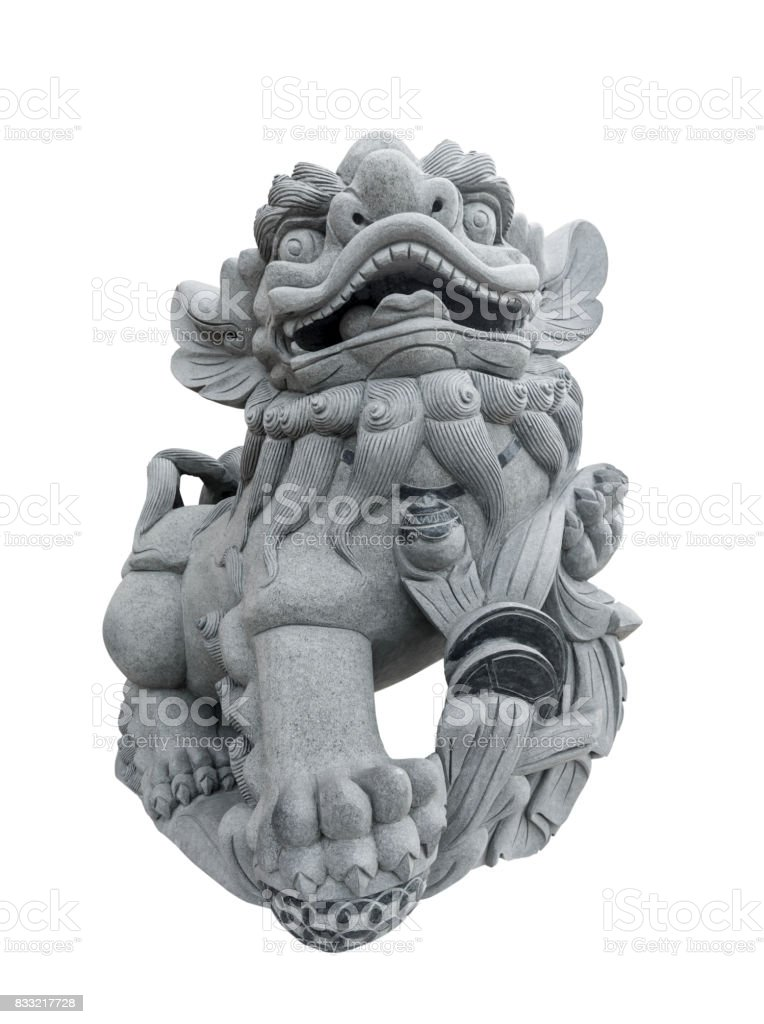 Chinese lion sculpture isolated stock photo