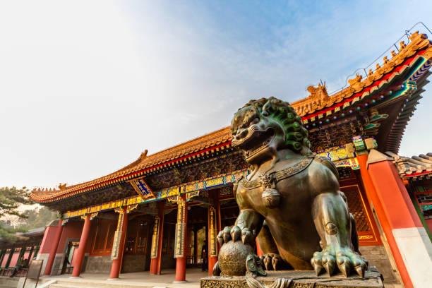 Chinesische Löwenstatue im Sommerpalast, China – Foto