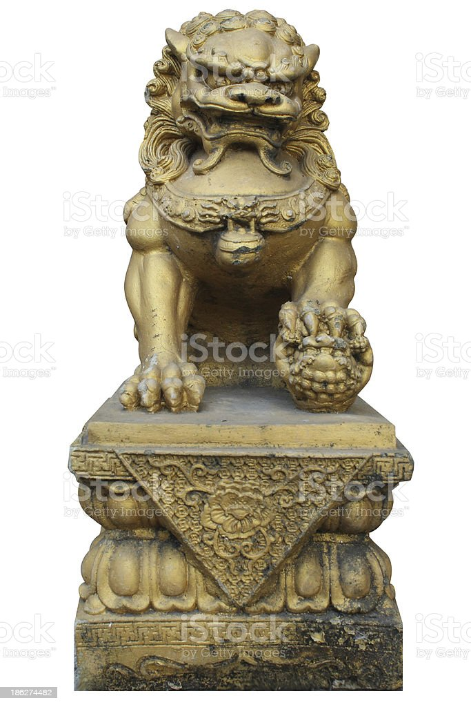Chinese Lion Stone With Clipping Path royalty-free stock photo