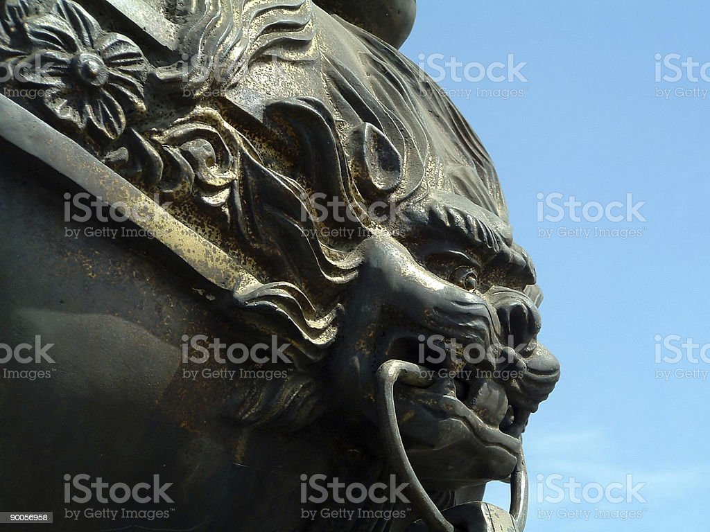Chinese Lion's Face stock photo