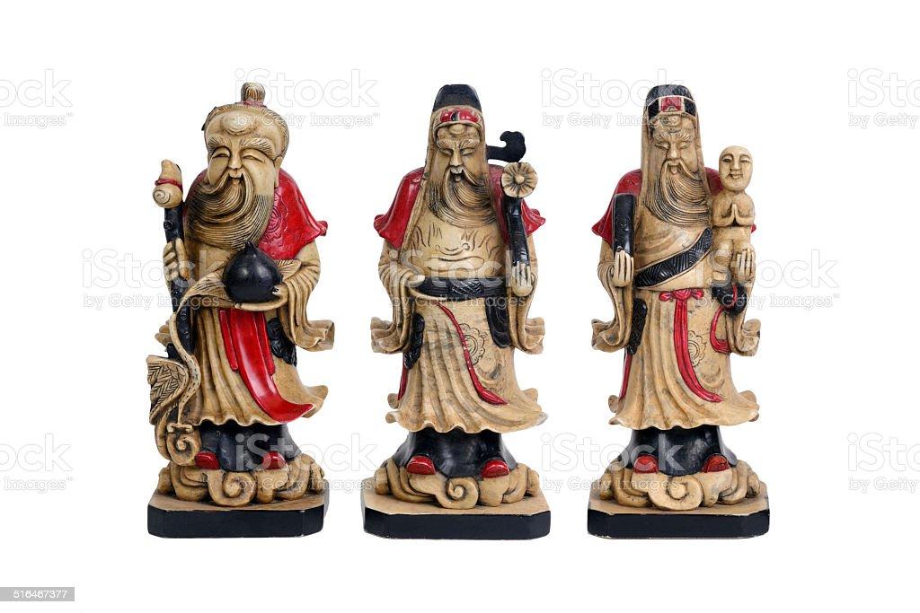 Chinese lucky gods, Fu Lu Shou. stock photo