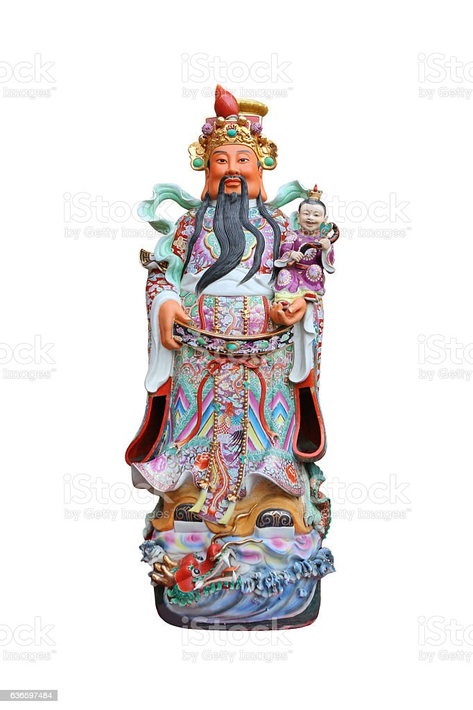 Chinese lucky gods, Lok or Lu statues stock photo