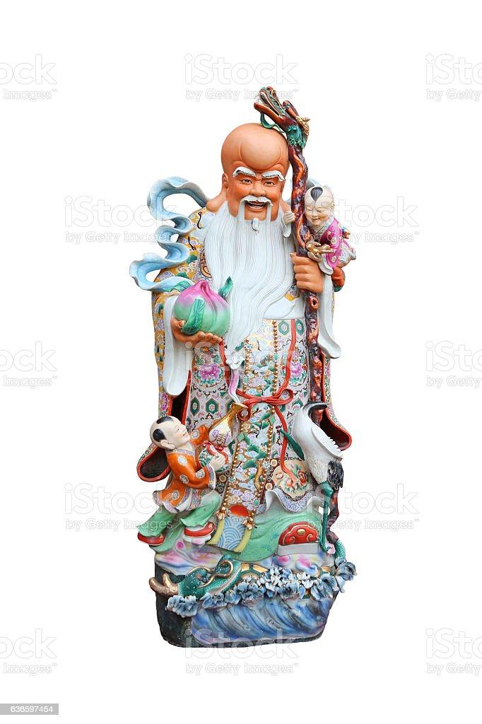 Chinese lucky gods, Shou or Xiu statues 'God of Longevity' stock photo