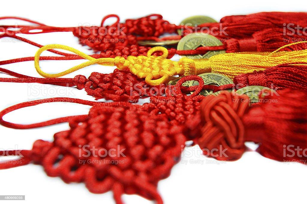 Chinese lucky knots (pingan jie) stock photo