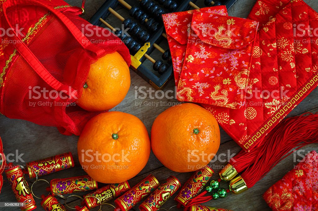 Chinese Lucky Pouches with Firecrackers Prepared for a Chinese New Year royalty-free stock photo