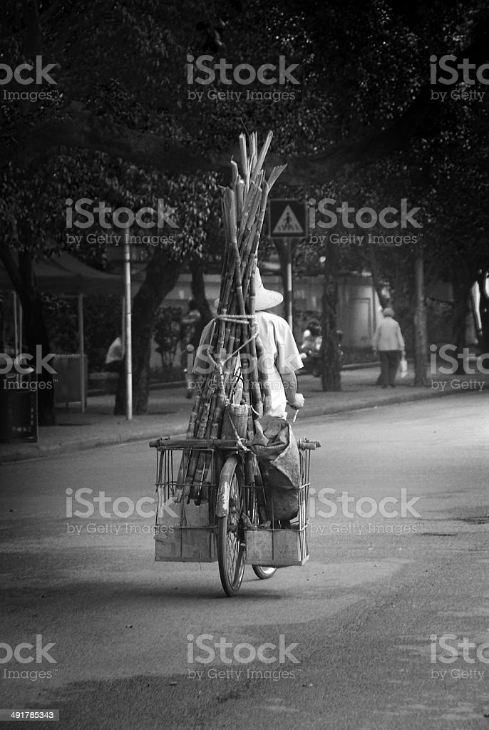Chinese Man on Bicycle stock photo