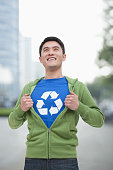 Chinese man with recycling symbol on t-shirt