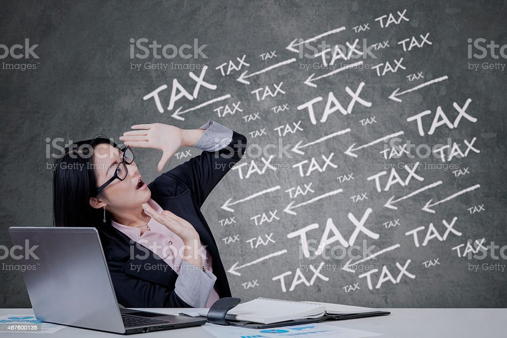 Chinese manager with tax pressure stock photo