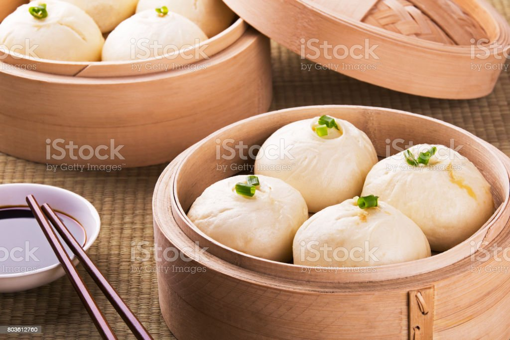 Chinese meal of baozi also known as dim sun stock photo