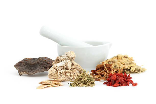 "Chinese medical herbs and mortar ""Some chinese medical herbs and a mortar on white ground.From left to right: Fu Ling, Huang Qi, Dang Gui, Jin Yin Hua, Chen Pi, Gou Qi Zi, Ju Hua."" chinese herbal medicine stock pictures, royalty-free photos & images"