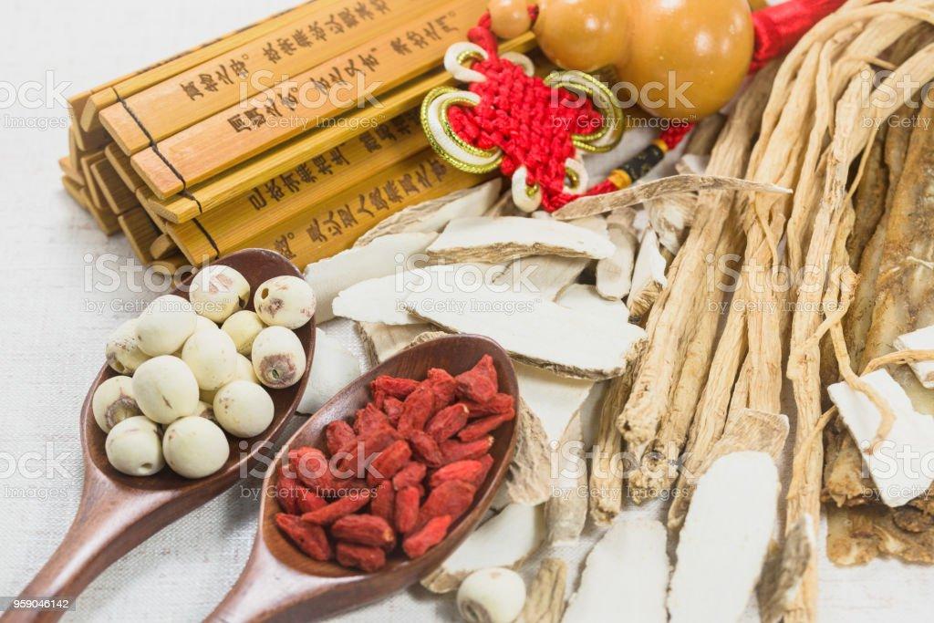 Chinese medicinal herbs combination stock photo