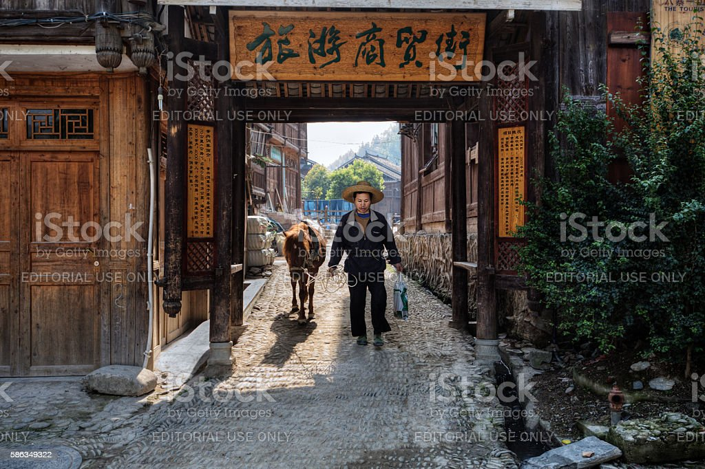 Chinese men in wide-brimmed rattan hat keeps horse in about. stock photo