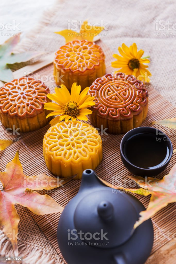 Chinese Mid Autumn Festival Food Mooncake Stock Photo
