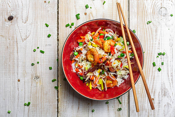 chinese mix vegetables and rice - chinese food stock photos and pictures