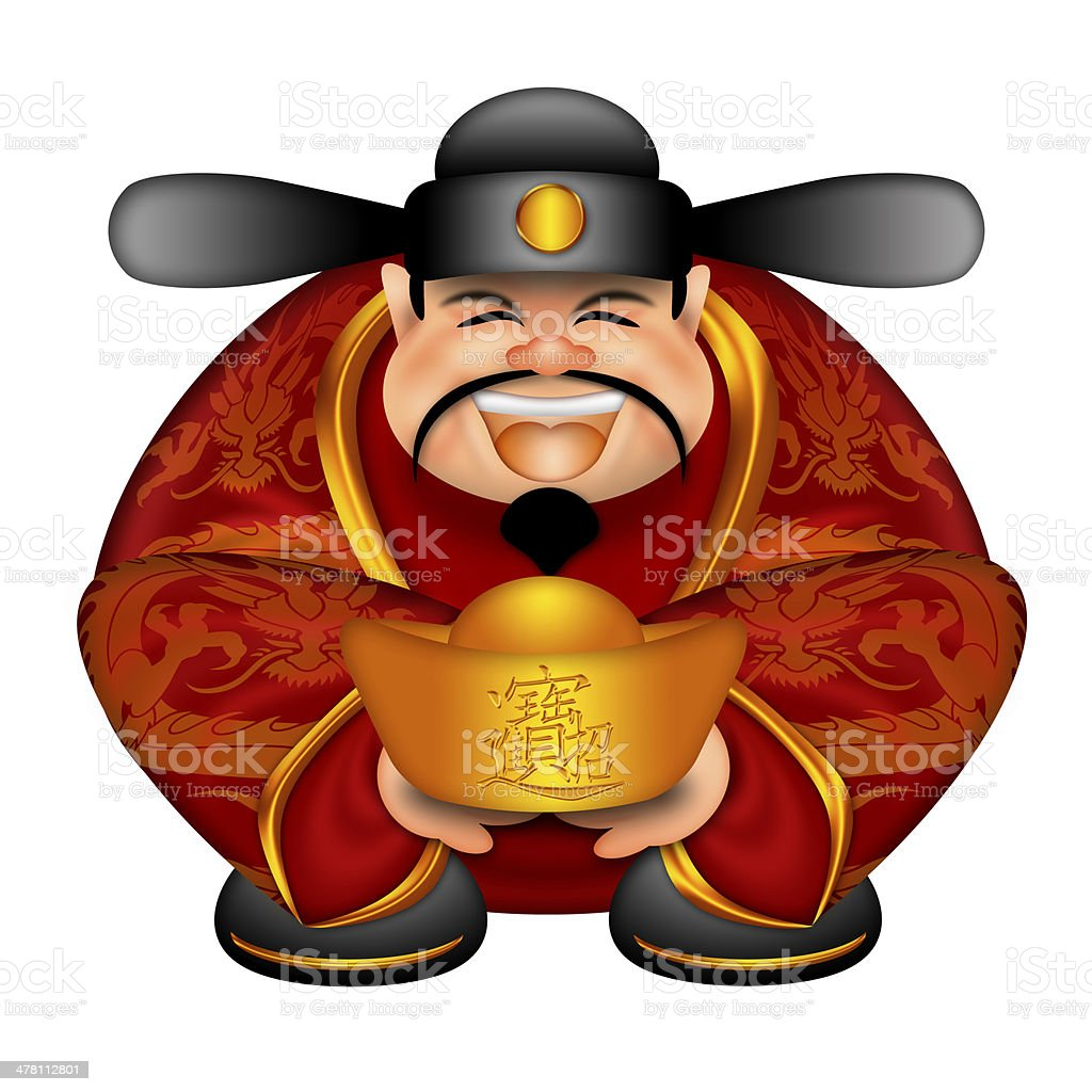Chinese Money God With Gold Bars royalty-free stock photo