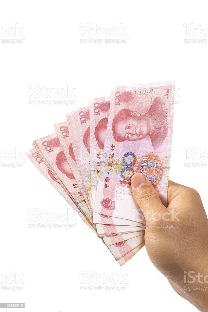 Chinese money in hand stock photo