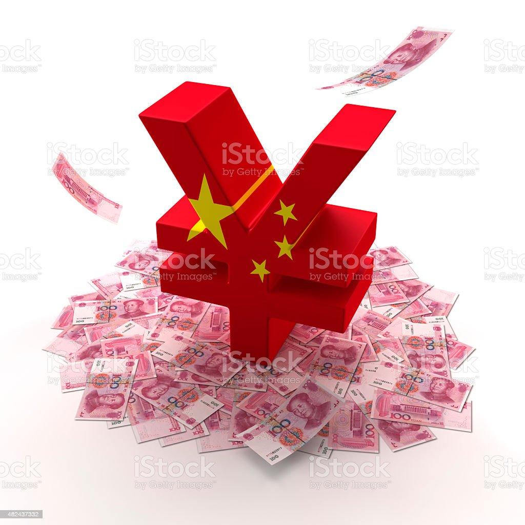 Chinese money mark stock photo