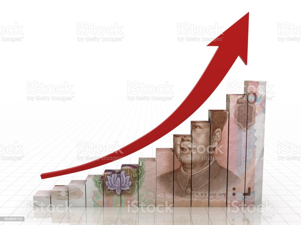 Chinese money rmb growth graph stock photo