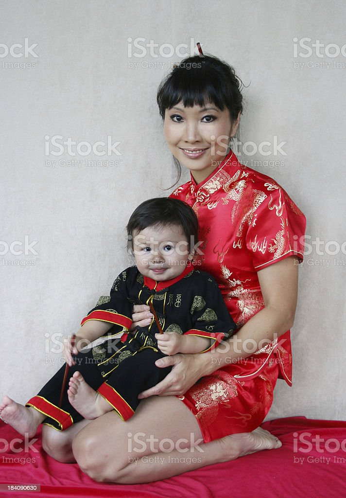 Chinese Mother and Child royalty-free stock photo