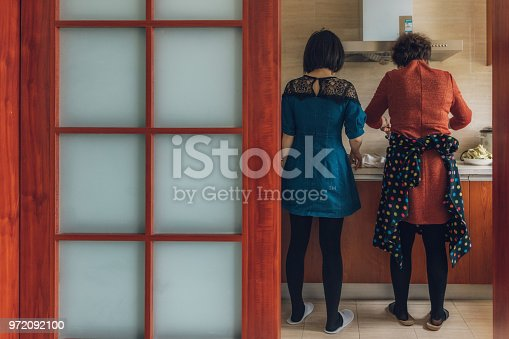 rear view on modern chinese woman working in kitchen