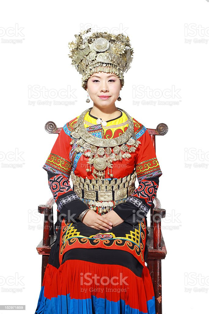 Chinese national minority young girl stock photo