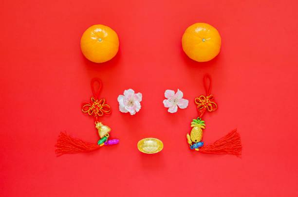 chinesische sendejahr 2020 festival dekoration als rattengesicht auf rotem hintergrund gesetzt. - zwetschgenmus stock-fotos und bilder
