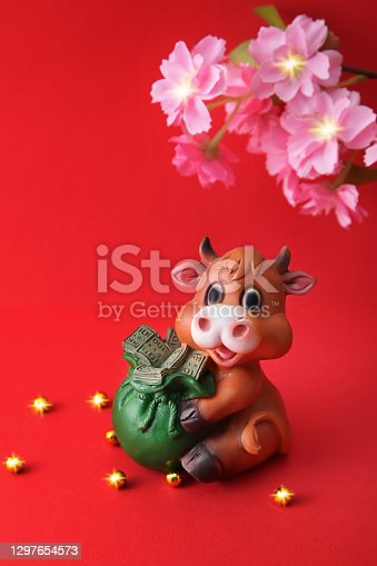 Chinese New Year 2021 decoration Ox on red background. Bull, Flowers of good fortune. Vertical banner
