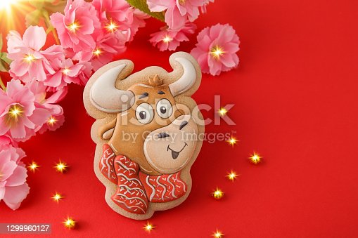 Chinese New Year 2021. Ox on red background. Good luck flowers. Golden light glare. Copy space