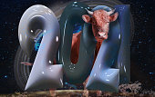 Chinese new year 2021 year of the ox. Beef stands behind inflated plastic numbers 2021and galaxy background. Elements of this image furnished by NASA.\n\n/urls:\nhttps://solarsystem.nasa.gov/resources/429/perseids-meteor-2016/ \nhttps://images.nasa.gov/details-PIA07841.html\nhttps://images.nasa.gov/details-GSFC_20171208_Archive_e002172.html\nhttps://images.nasa.gov/details-PIA15415.html