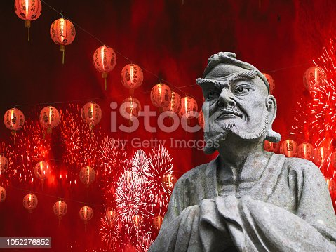 istock Chinese new year celebration concept chinese statue with lanterns and fireworks festival background 1052276852