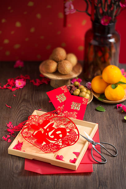 Chinese new year decoration table top shot. stock photo