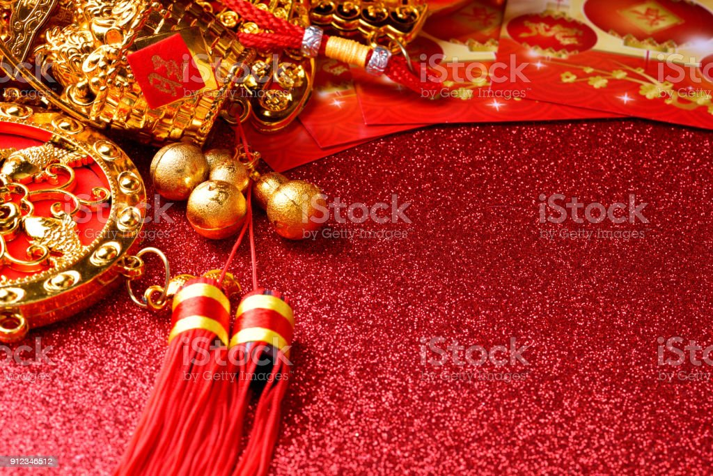 chinese new year decorations and auspicious ornaments on red bokeh background royalty free stock photo - Chinese Christmas Decorations