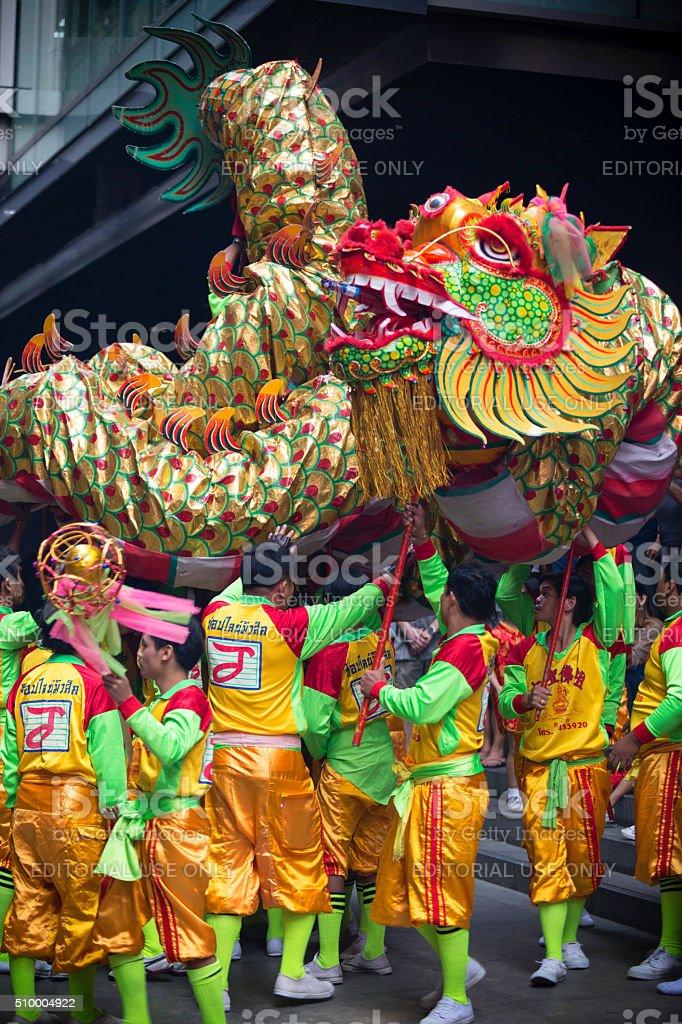 chinese new year dragon dance bangkok royalty free stock photo - Chinese New Year Dragon Dance