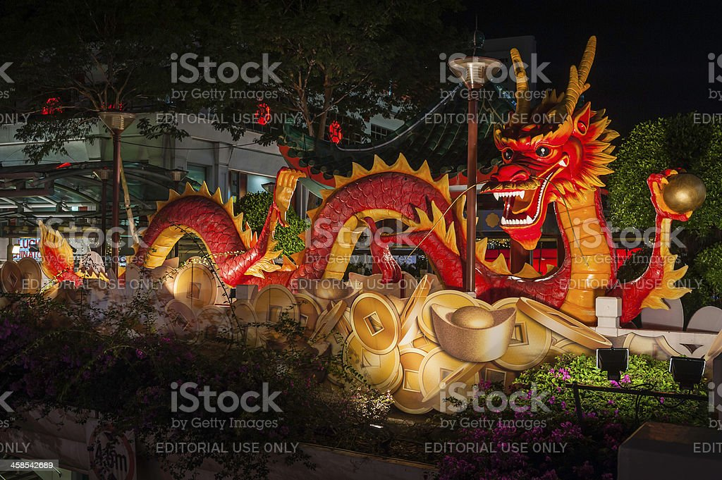 Chinese New Year dragon on overpass in Singapore royalty-free stock photo