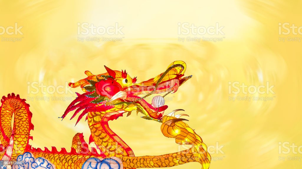 Chinese new year dragon with lanterns in china town. stock photo