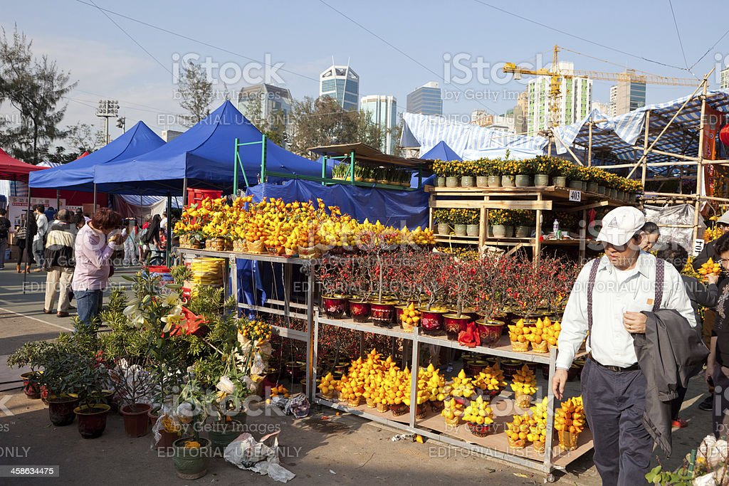 Chinese New Year Flower Market stock photo