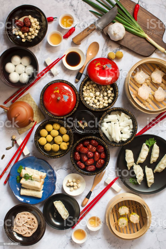 Chinese new year food and drink reunion dinner table top shot stock chinese new year food and drink reunion dinner table top shot royalty free stock forumfinder Gallery