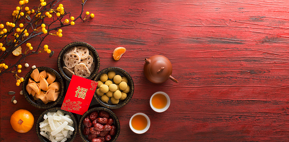 Chinese New Year Food And Drink Still Life Stock Photo ...