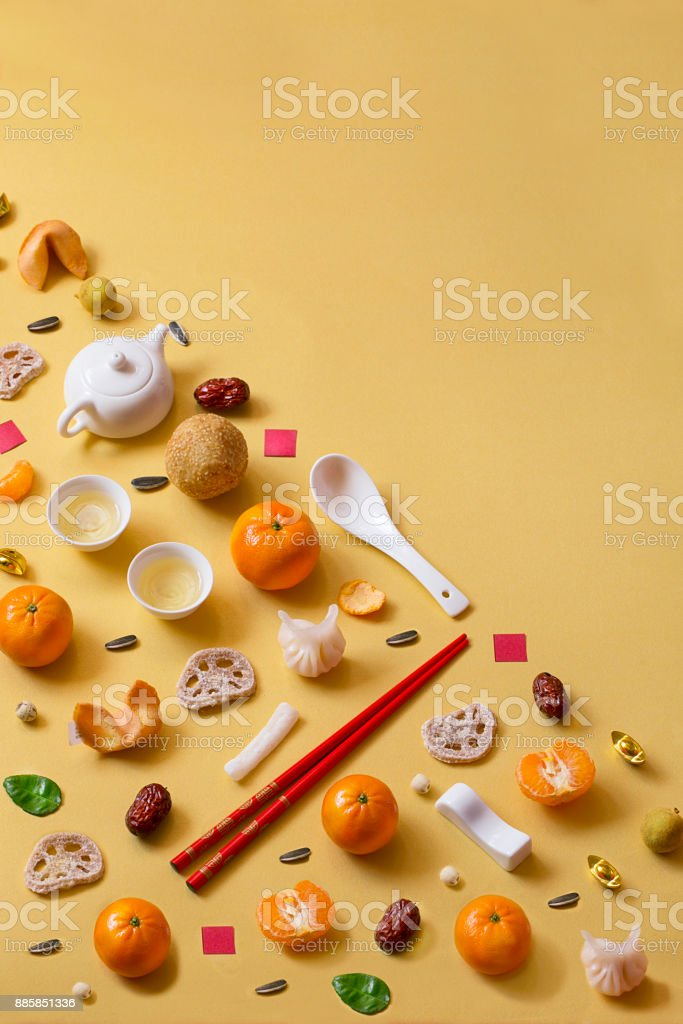 Chinese new year food and drink still life. stock photo
