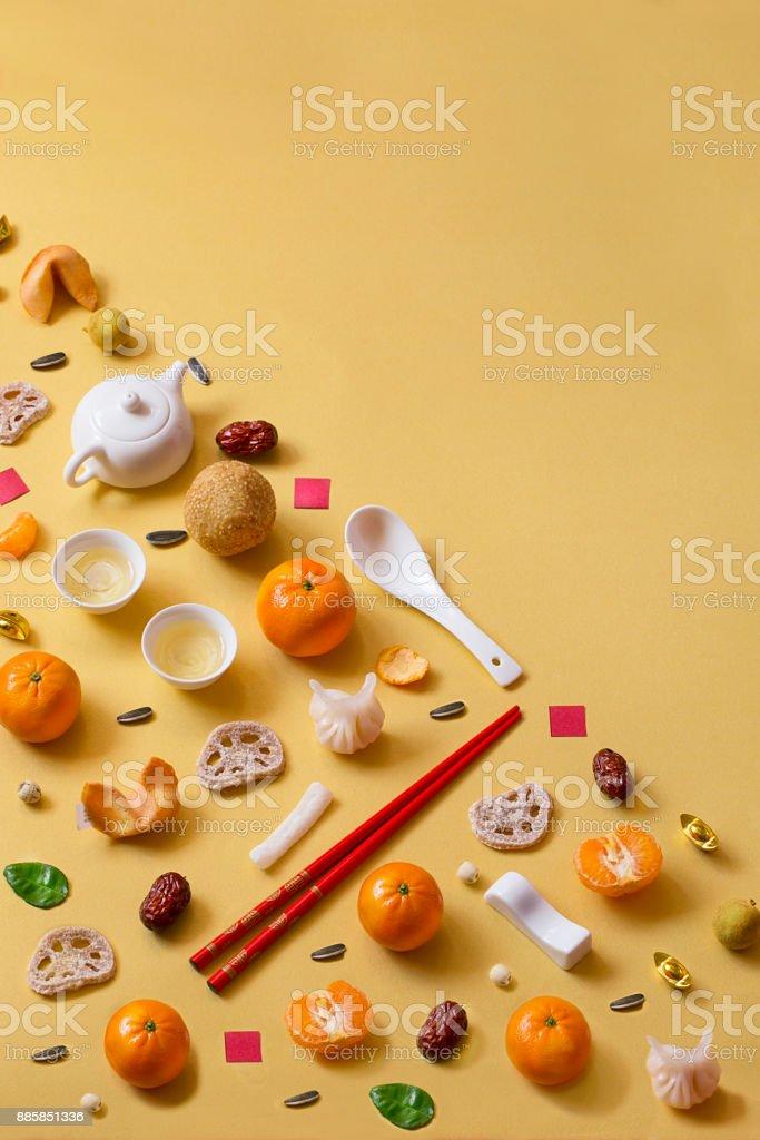 Chinesisches Neujahr-Essen und trinken Stilleben. – Foto