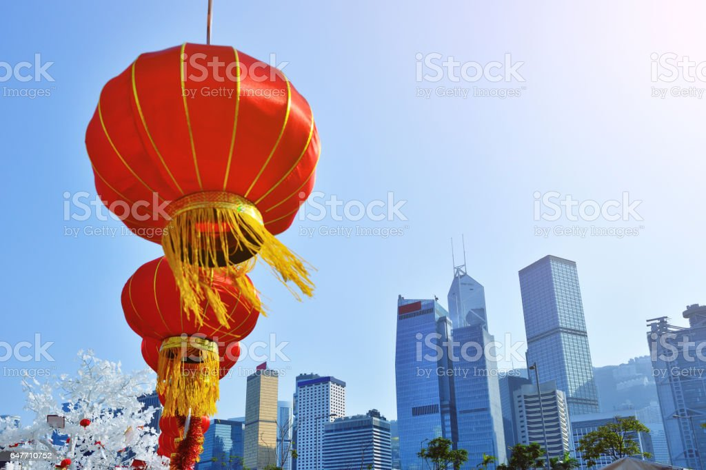 Chinese New Year, Hong Kong's Central Business District at Sunny Day stock photo