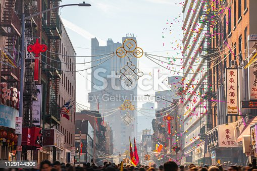 New York, United States - February 5, 2019 -  People celebrate the Chinese New Year in the street of Chinatown, New York City