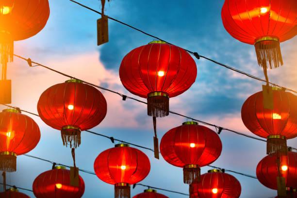 Chinese new year lanterns in china town stock photo