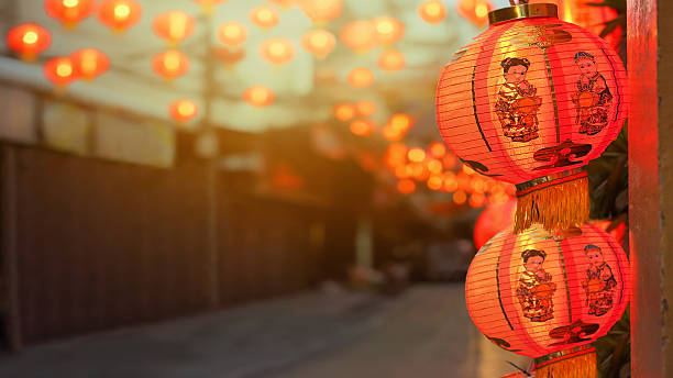 chinese new year lanterns in china town. - kinesiska lyktfestivalen bildbanksfoton och bilder