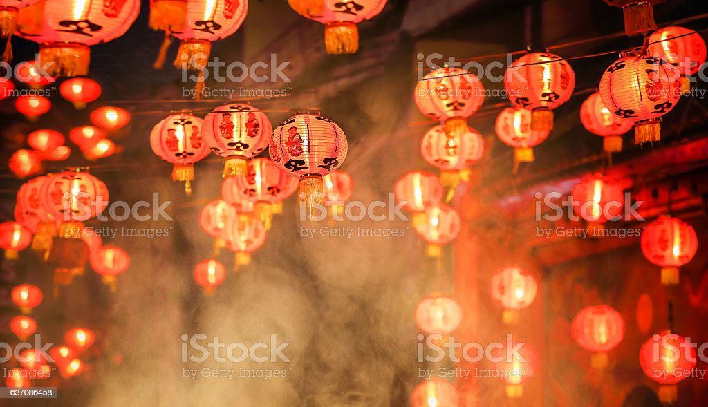 Chinese new year lanterns in chinatown stock photo