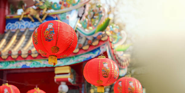 chinese new year lanterns - chinese new year stock pictures, royalty-free photos & images