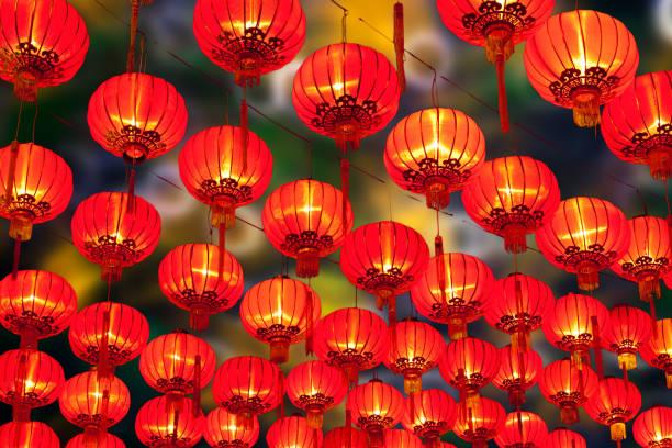 chinese new year lanterns - festival delle lanterne cinesi foto e immagini stock